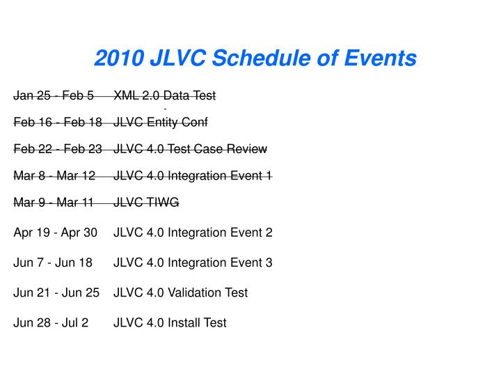 2010 JLVC Schedule of Events