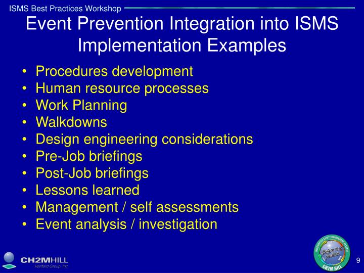 Event Prevention Integration into ISMS Implementation Examples