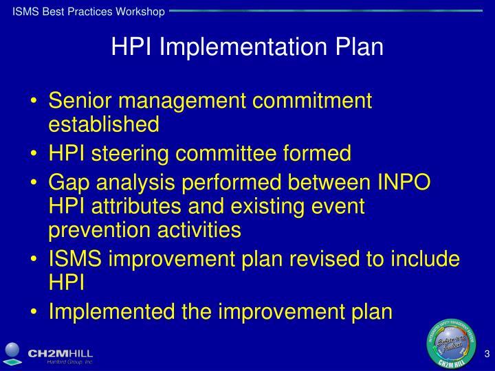 HPI Implementation Plan