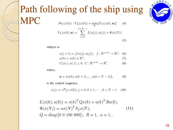 Path following of the ship using MPC