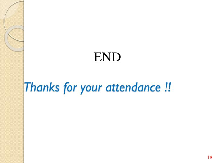 Thanks for your attendance !!