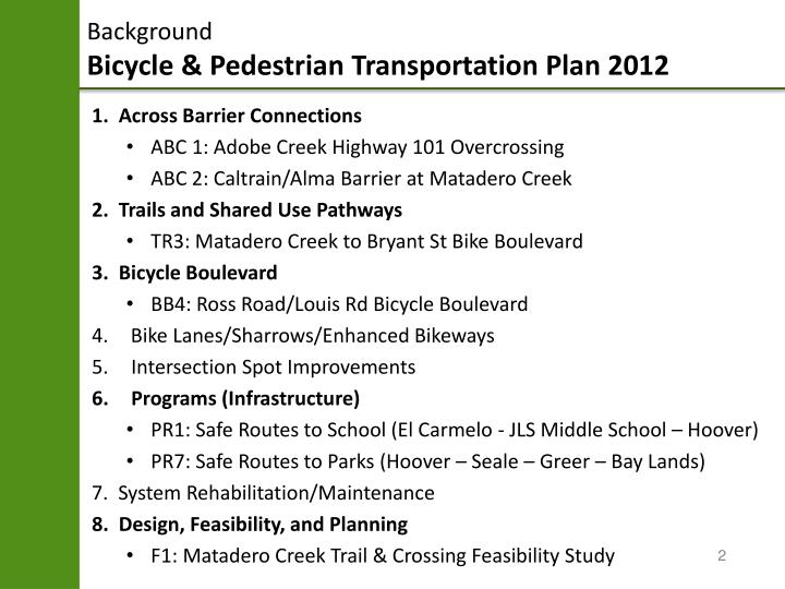 Background bicycle pedestrian transportation plan 2012