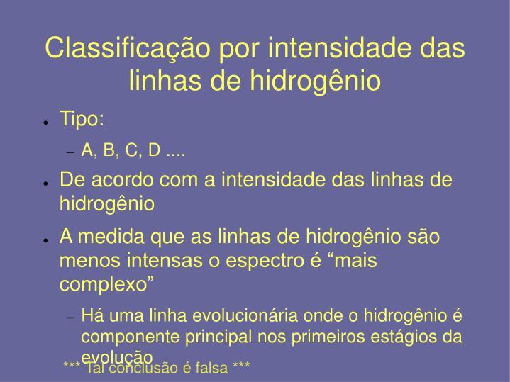 Classificação por intensidade das linhas de hidrogênio