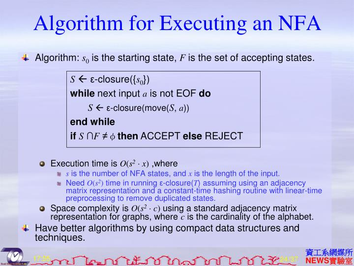 Algorithm for Executing an NFA