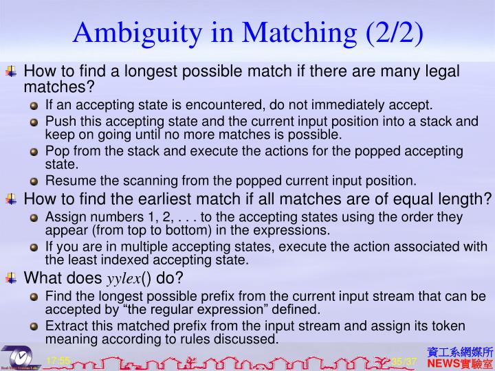 Ambiguity in Matching (2/2)