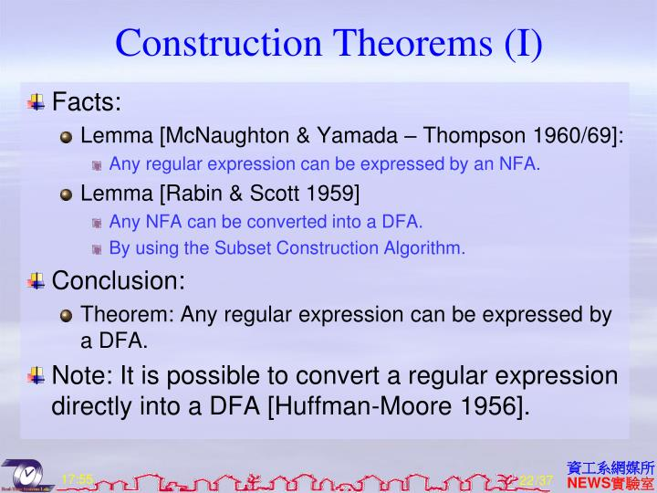 Construction Theorems (I)