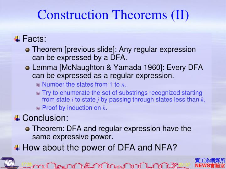 Construction Theorems (II)