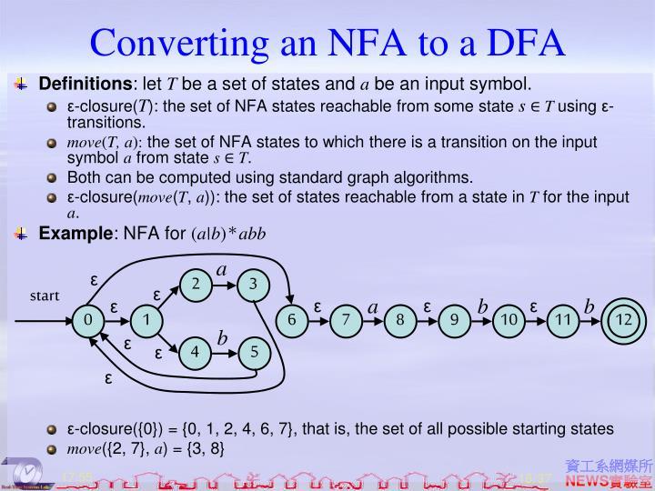 Converting an NFA to a DFA