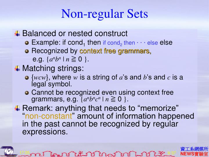 Non-regular Sets
