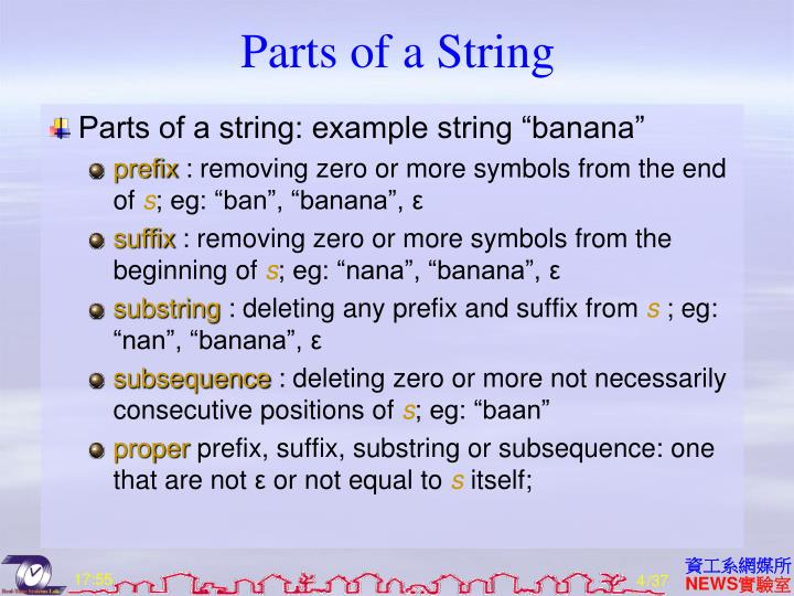Parts of a String
