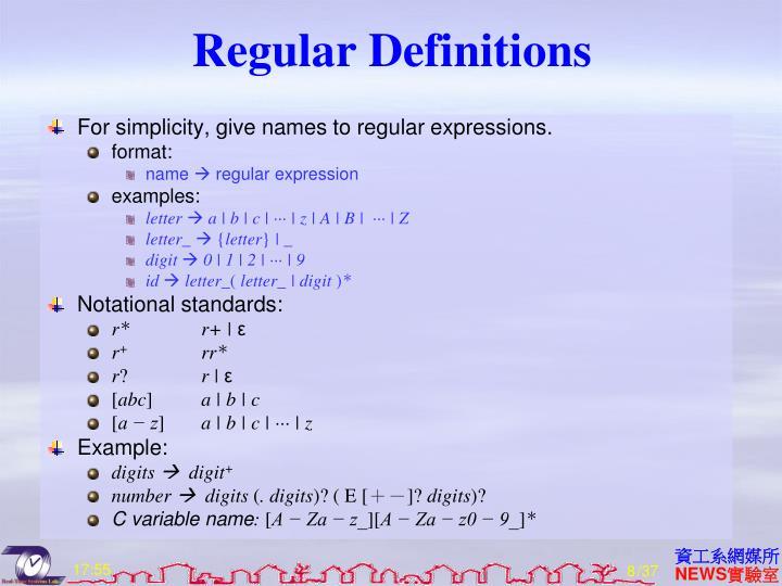 Regular Definitions