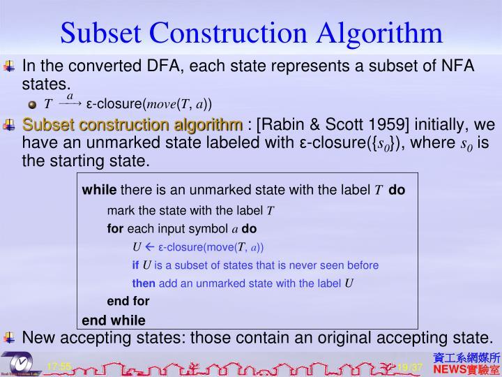 Subset Construction Algorithm