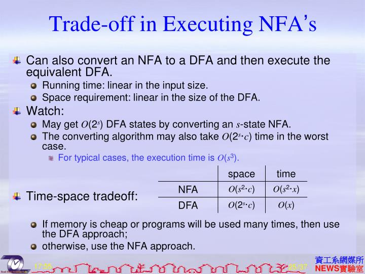 Trade-off in Executing NFA