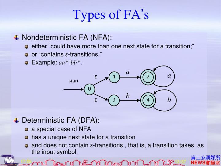 Types of FA