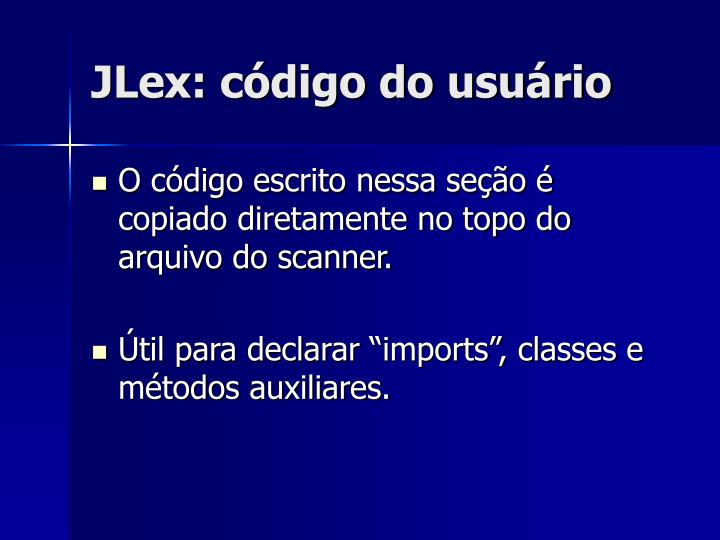 JLex: código do usuário