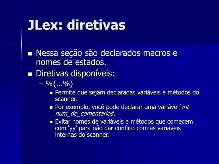 JLex: diretivas