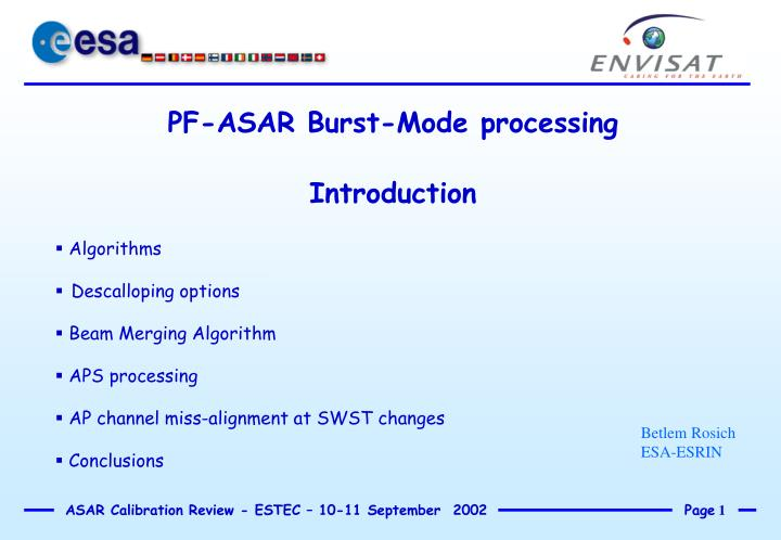 PF-ASAR Burst-Mode processing