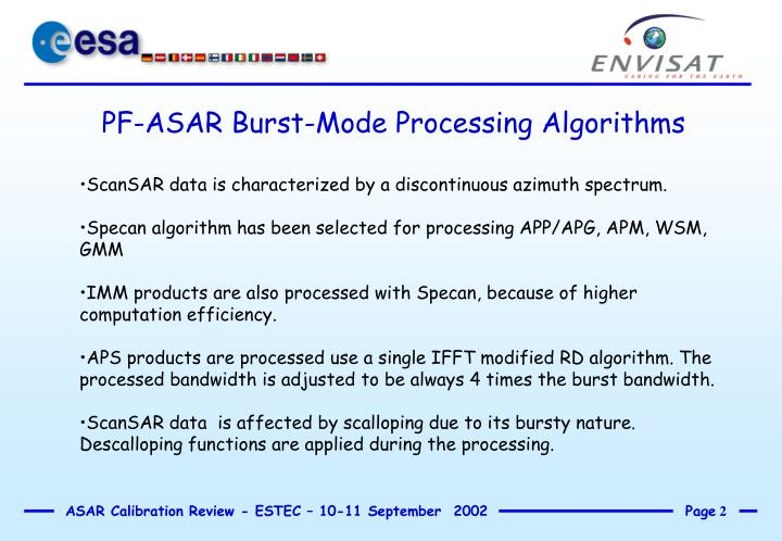 PF-ASAR Burst-Mode Processing Algorithms