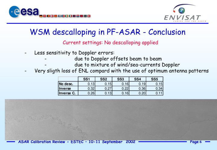 WSM descalloping in PF-ASAR - Conclusion