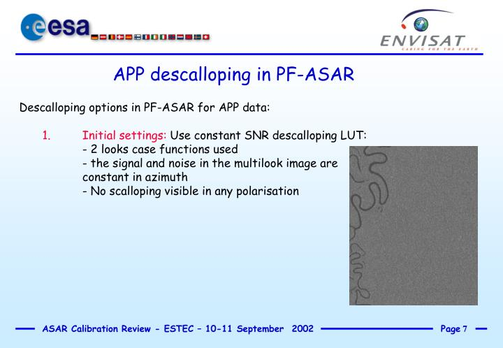 APP descalloping in PF-ASAR