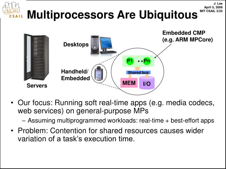 Our focus: Running soft real-time apps (e.g. media codecs, web services) on general-purpose MPs