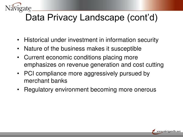 Data Privacy Landscape (cont'd)