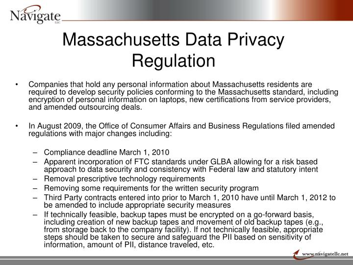Massachusetts Data Privacy Regulation