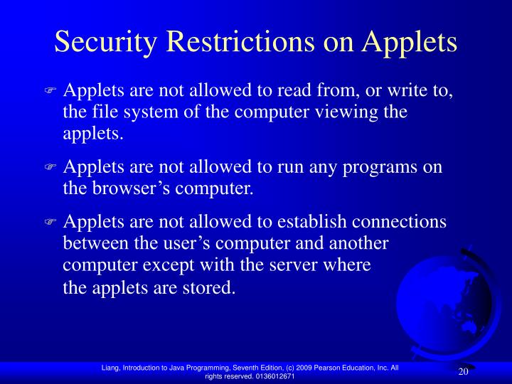 Security Restrictions on Applets