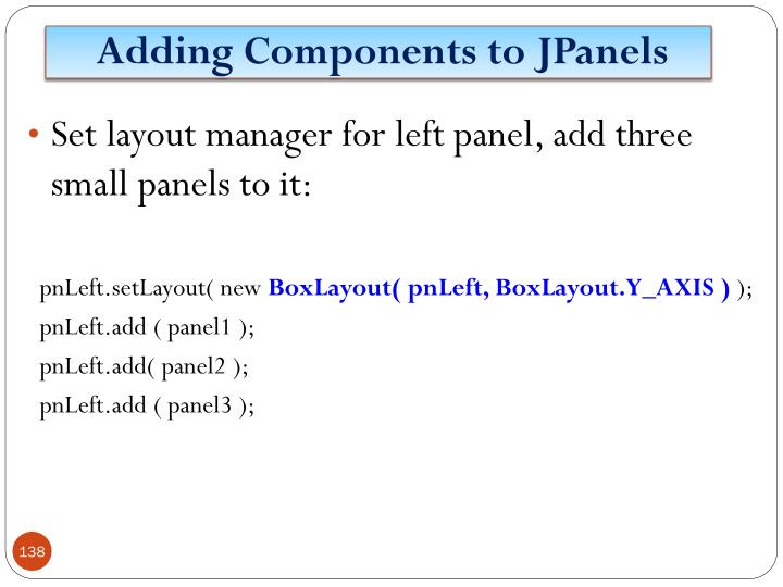 Adding Components to