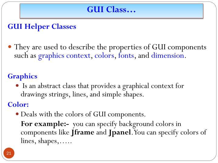 GUI Class…