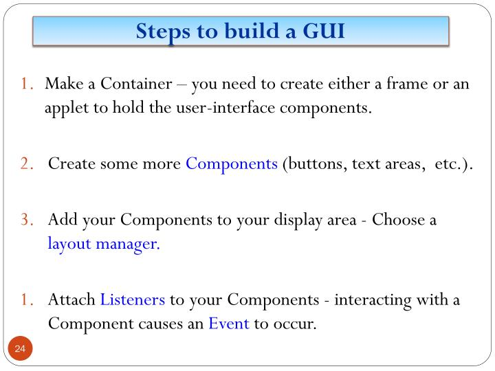 Steps to build a GUI