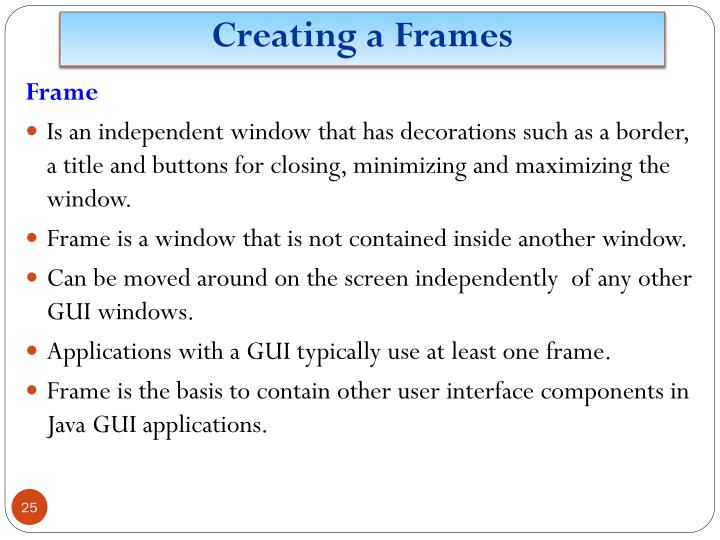 Creating a Frames