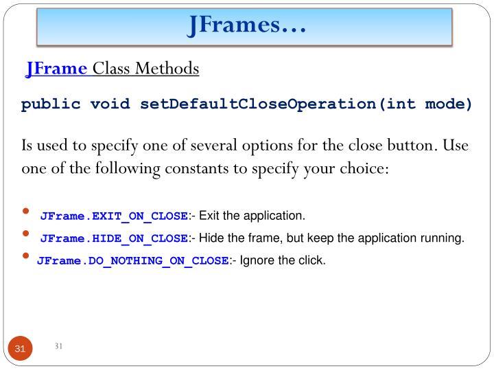 JFrames