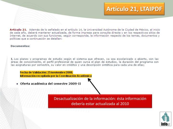 Artículo 21, LTAIPDF