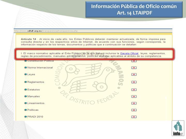 Información Pública de Oficio común