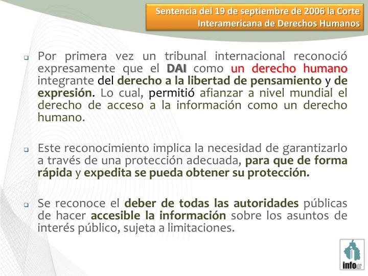 Sentencia del 19 de septiembre de 2006 la Corte Interamericana de Derechos Humanos