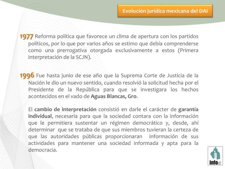 Evolución jurídica mexicana del DAI