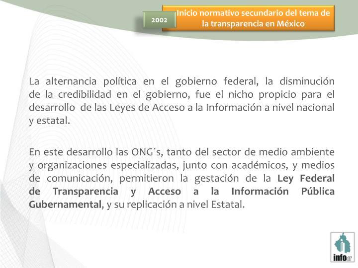 Inicio normativo secundario del tema de la transparencia en México