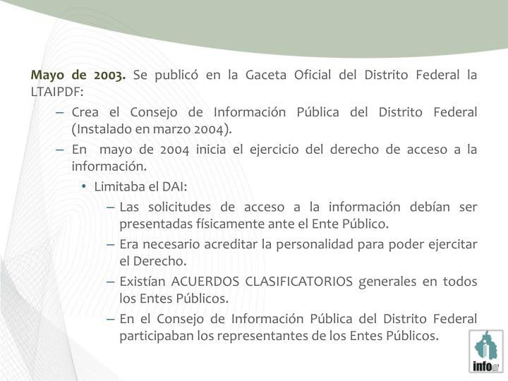 Mayo de 2003.