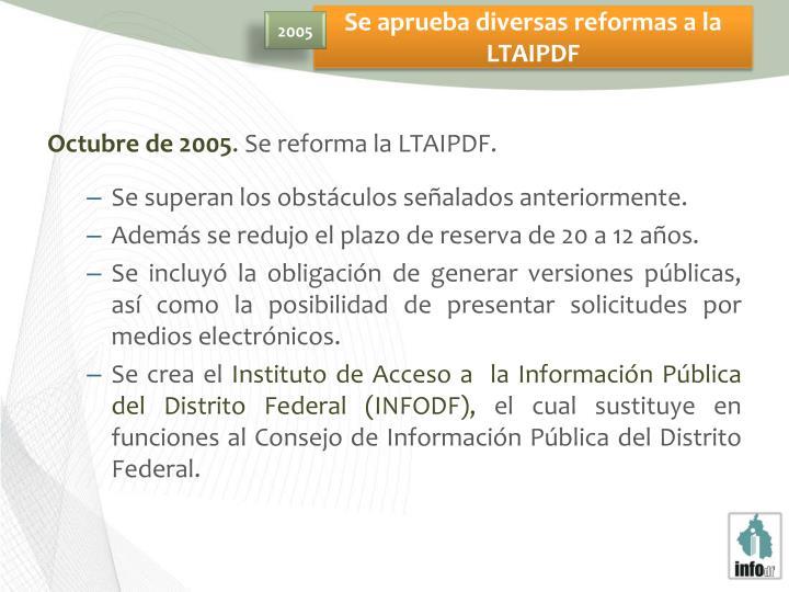 Se aprueba diversas reformas a la LTAIPDF