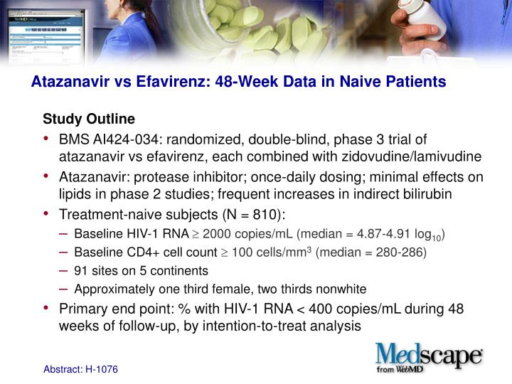 Atazanavir vs efavirenz 48 week data in naive patients