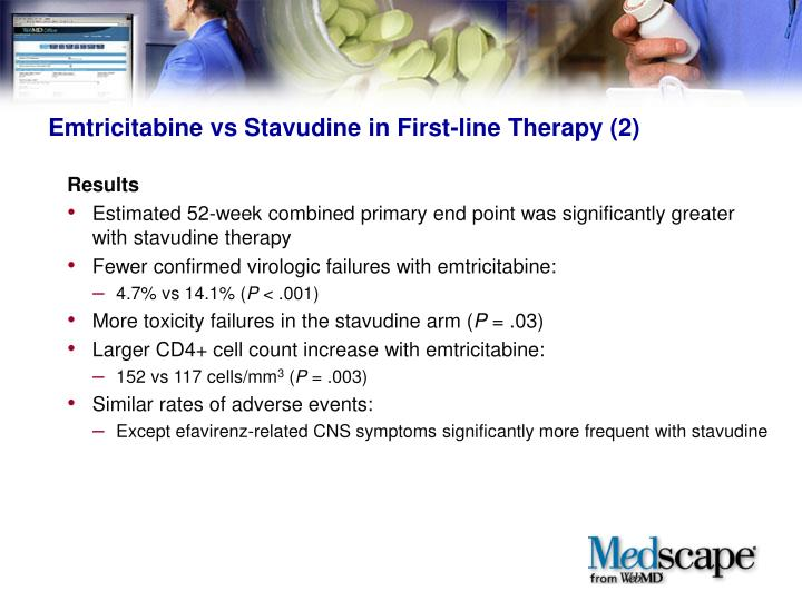 Emtricitabine vs Stavudine in First-line Therapy (2)
