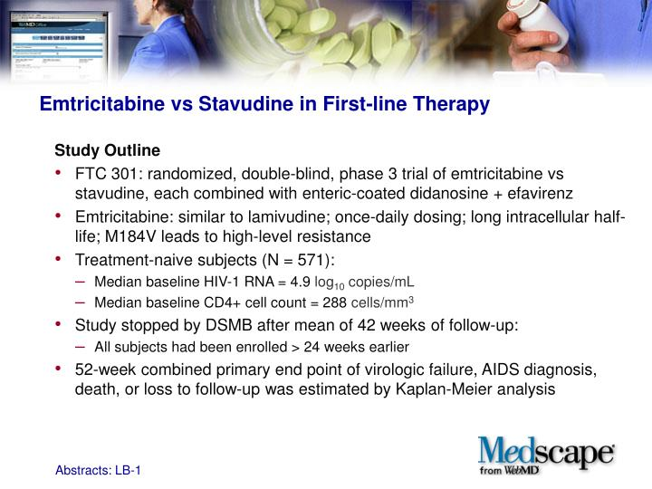 Emtricitabine vs Stavudine in First-line Therapy