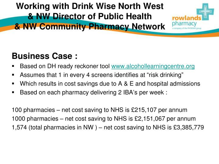 Working with drink wise north west nw director of public health nw community pharmacy network1