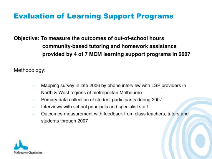 Evaluation of learning support programs
