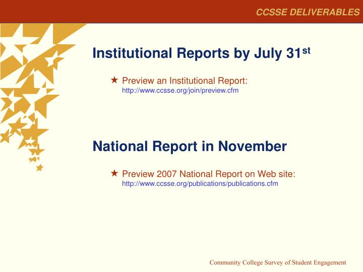 CCSSE DELIVERABLES