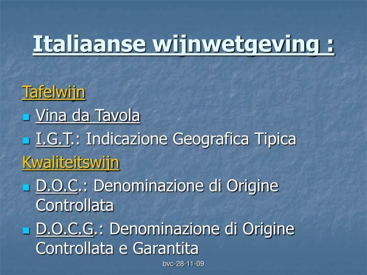 Italiaanse wijnwetgeving :