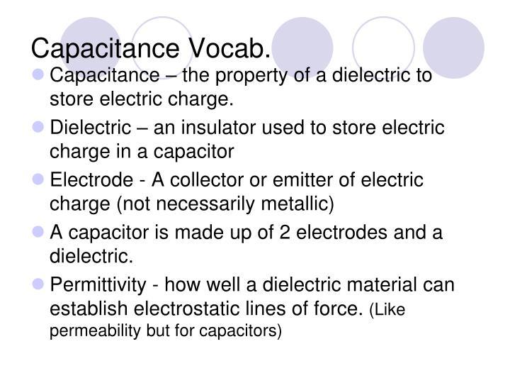 Capacitance Vocab.