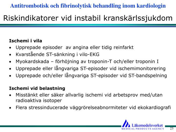 Riskindikatorer vid instabil kranskärlssjukdom