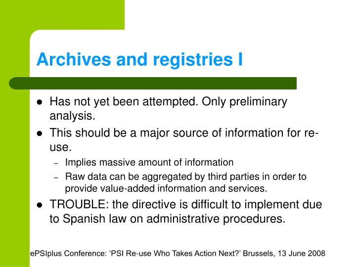 Archives and registries I